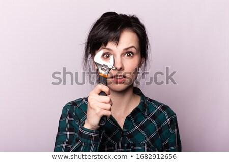 Femme clé à molette construction métal industrie Photo stock © photography33