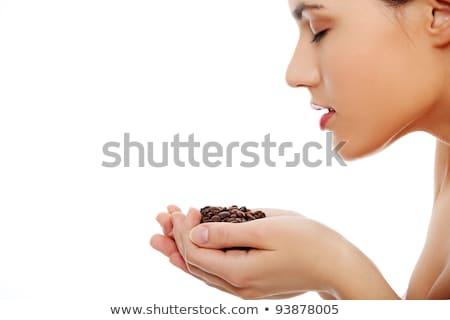 ストックフォト: 唇 · コーヒー豆 · 孤立した · 白 · コーヒー · キス