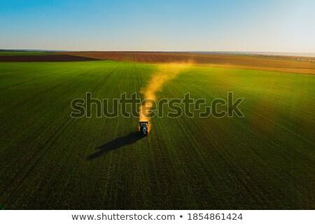 Traktör çayır yeşil gün batımı manzara Stok fotoğraf © Witthaya