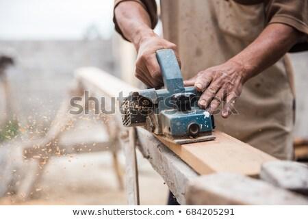 плотник · работу · измерение · древесины - Сток-фото © williv