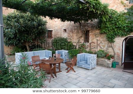 ortaçağ · köy · Toskana · İtalya · ev · duvar - stok fotoğraf © wjarek