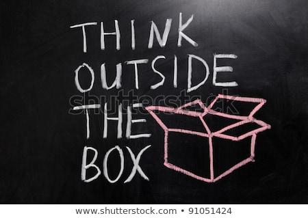 Krijttekening denk buiten vak krijt Stockfoto © bbbar