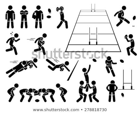 rugby · resim · yazı · minimalist · oyuncu - stok fotoğraf © zooco