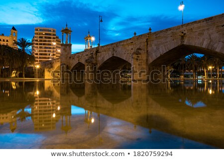 city of valencia night bridge puente del mar stock photo © lunamarina