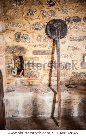 Olasz szakács pizza fából készült héj férfi Stock fotó © photography33