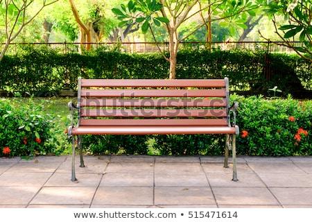 公園 ベンチ 木材 鋼 立って ストックフォト © rhamm