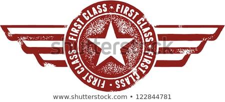 klasszikus · első · osztály · légi · közlekedés · stílus · bélyeg · terv - stock fotó © squarelogo