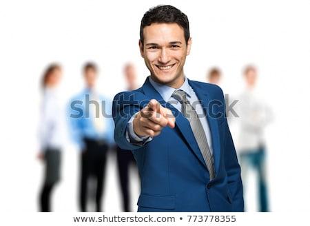 zakenman · wijzend · glimlachend · foto · jonge - stockfoto © feedough