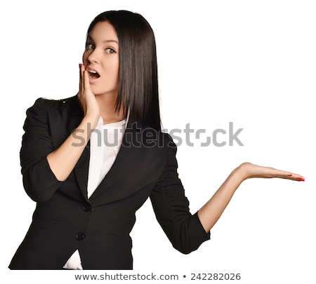 Beautiful business girl in a suit surprised Stock photo © Len44ik