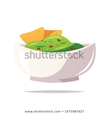 bowl of guacamole and tortilla chips Stock photo © M-studio