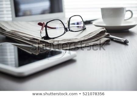 очки газета очки для чтения деревянный стол Vintage стиль Сток-фото © stevanovicigor