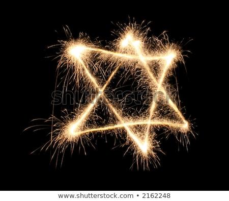бенгальский огонь звезды черный золото фары фейерверк Сток-фото © Paha_L