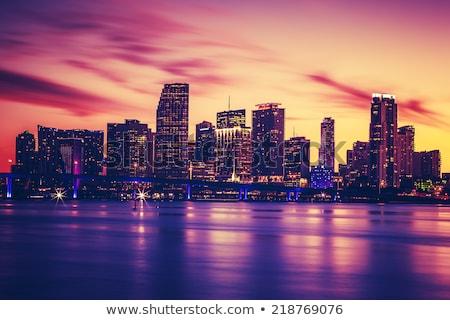 Miami · ufuk · çizgisi · akşam · karanlığı · anahtar · şehir · kentsel - stok fotoğraf © creisinger
