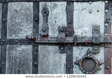 rozsdás · lakat · öreg · fából · készült · ajtó · ház - stock fotó © smuki