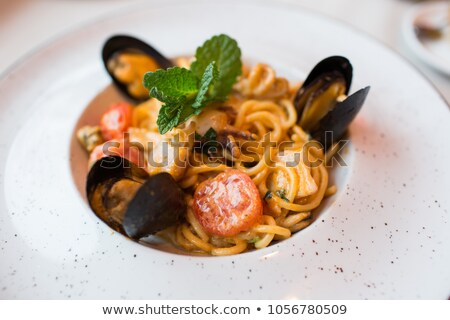 spaghetti with shrimp and mussel Stock photo © M-studio