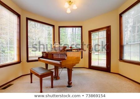 Zongora szoba citromsárga falak sok ablakok Stock fotó © pxhidalgo