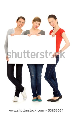 Teen girl segno copia spazio cute bianco Foto d'archivio © Cursedsenses