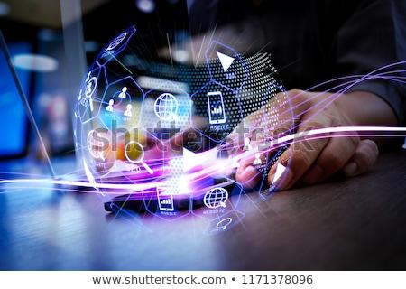 Video reclamă digital albastru culoare text Imagine de stoc © tashatuvango