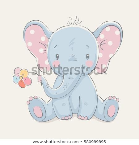 baba · elefánt · rajz · vicces · boldog · jókedv - stock fotó © aminmario11