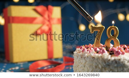 Stock Photo Burning Birthday Candles Number 78