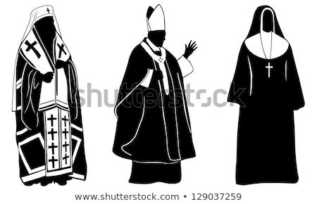 Pápa sziluett illusztráció templom galamb imádkozik Stock fotó © sognolucido