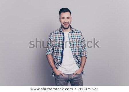 fiatal · szakállas · férfi · kezek · portré · lezser - stock fotó © feedough