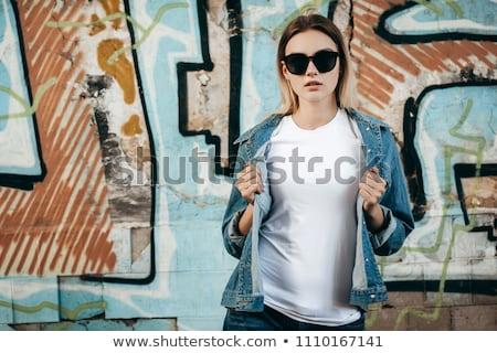Frau tragen weiß Jacke Berg Winter Stock foto © papa1266