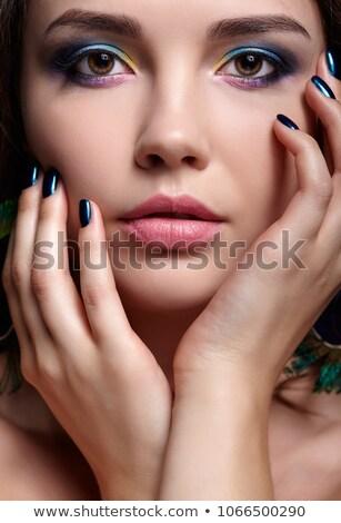Báj káprázatos barna hajú toll fülbevaló hölgy Stock fotó © racoolstudio