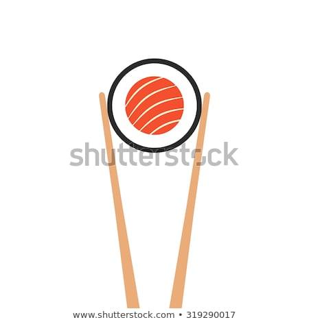 ahşap · Çin · yemek · çubukları · somon · sashimi · balık - stok fotoğraf © nejron