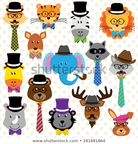 giraffe hipster in hat and tie, with mustache  Stock photo © kali