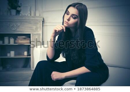 élet szomorú hosszú barna haj lány gyönyörű Stock fotó © Giulio_Fornasar