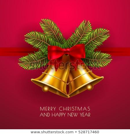 Noel çan star dekorasyon yeşil altın Stok fotoğraf © ajfilgud