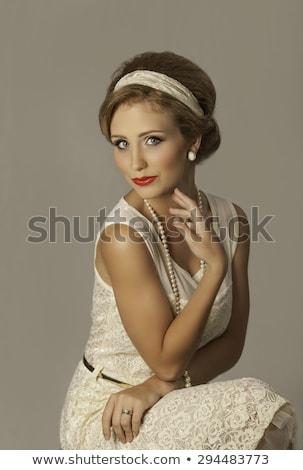 Beleza mulher loira renda lábios vermelhos mulher menina Foto stock © arturkurjan