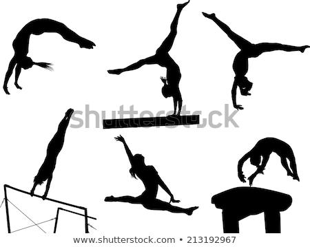 ginnastica · sagome · ragazza · uomo · sport · nero - foto d'archivio © Slobelix