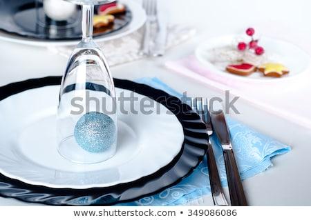 Сток-фото: синий · серебро · Рождества · таблице · довольно