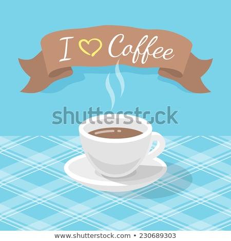 Cappuccino tasse ruban vecteur stylisé Photo stock © vectorikart