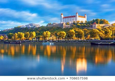 Братислава · замок · закат · право · банка · Дунай - Сток-фото © kayco