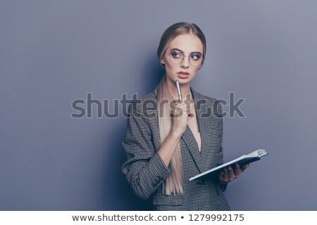 portré · fekete · üzletasszony · néz · tart · toll - stock fotó © deandrobot