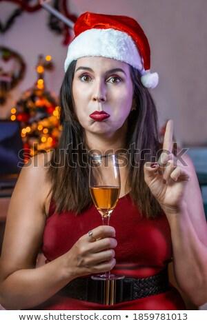 Foto stock: Papai · noel · potável · champanhe · garrafa · óculos · isolado