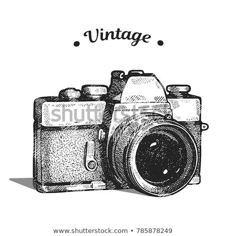 öreg régi fényképezőgép bőrönd szürke fekete fotó Stock fotó © IvicaNS