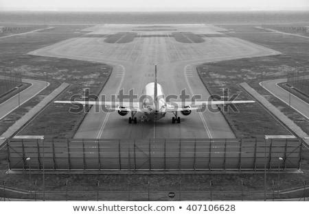 航空機 飛行機 翼 着陸 プロセス 青空 ストックフォト © lunamarina