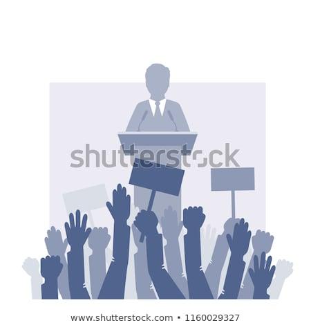 Zakenman politicus praten menigte permanente podium Stockfoto © Istanbul2009