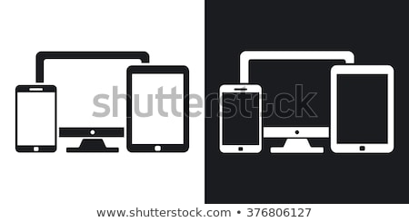 portátil · Screen · simple · icono · blanco · diseno - foto stock © tkacchuk