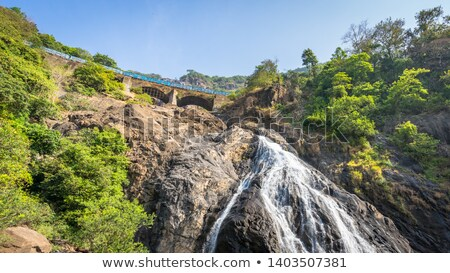 Waterfall in the jungle, a beautiful view of the railway on cliff .Indiya Goa Stock photo © mcherevan
