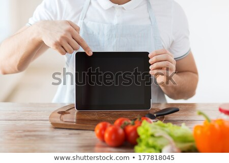 close up of blank tablet pc screen and vegetables Stock photo © dolgachov
