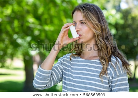 Foto stock: Mulher · asma · branco · saúde · saúde · isolado