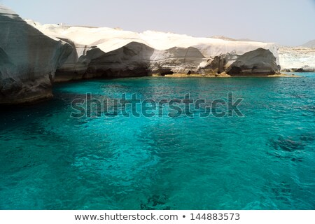 White Rock at the sea of Sarakiniko area, Milos island, Greece Stock photo © ankarb