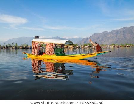 Tó víz fa csónak építészet vízszintes Stock fotó © imagedb