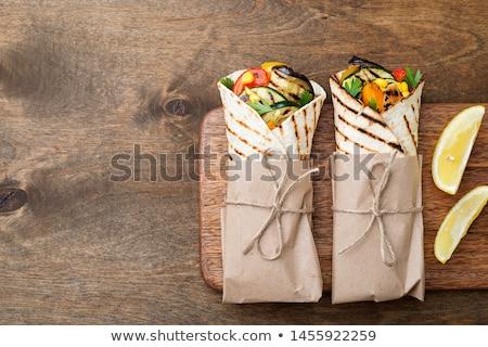 サンドイッチ · トルティーヤ · 地上 · 肉 · トマト - ストックフォト © Digifoodstock