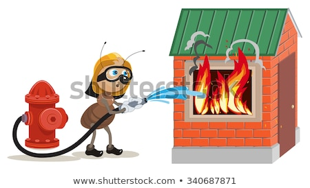 Stock photo: Ant firefighter extinguishes house